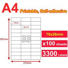 100 x 33 Labels A4 Sticker Paper Mailing Address Office Laser Inkjet 70x26mm