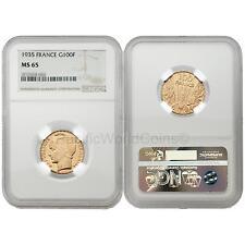France 1935 100 Francs Gold Ngc Ms65