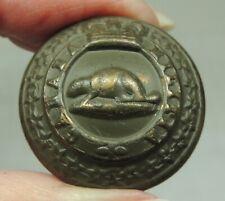 Antique Wwi Canada Militia Victorian Crown Uniform Button ~ Beaver