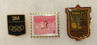 VINTAGE LOT OF 3 WINTER GAMES OLYMPIC PINBACKS STANLEY 1988 3M NY STAMP HAT PINS