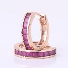 Flamboyant 18K gold filled charming ruby nice look hoop earring