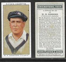 PLAYER'S 1934 CRICKETERS W.H.PONSFORD Card No 48 of 50 CRICKET CIGARETTE CARD