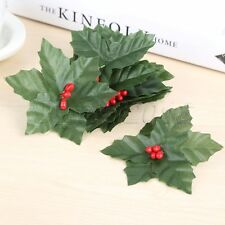 10Pcs Decoration Artificial Leaf Mini Holly Berries Christmas Flower Silk Leaves