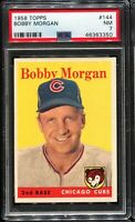 1958 Topps Baseball #144 BOBBY MORGAN Chicago Cubs PSA 7 NM !