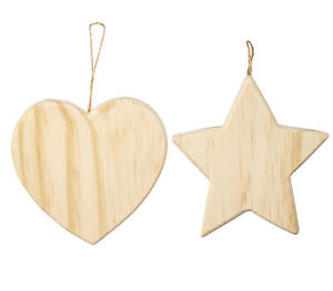 Lot of 2 Unfinished Wood Christmas Ornaments in 2 Styles: Heart & Star Shapes