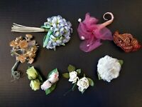 VTG 1950-60's Lot (8) Pcs Millinery Flowers w/Pins