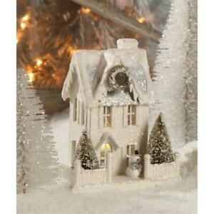 Wintery White Tall Putz House with Snowman Christmas Village Figure