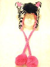 black white fun fur zebra pink trapper pom pom hat Hood Animal Spirit cosplay