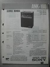SONY ANK-100 Cassette Corder Service Manual