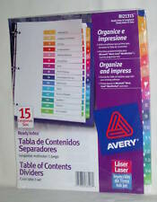 AVERY Table Of Contents Dividers 15 Tabs #R121315 Brand New Fast Free Shipping!