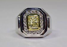 Men's 18k White Gold Yellow Diamond With A Halo Of Round Diamond Ring Size 8.75
