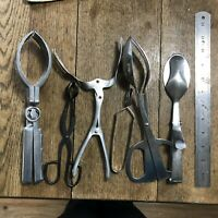 Vintage Lot of Kitchen Tongs Tools Utensils Aluminum Stainless Tongs
