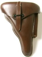 WWII GERMAN P38 HARDSHELL PISTOL HOLSTER- BROWN LEATHER
