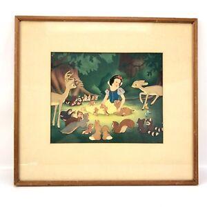 Vtg 1940's W.D.P Disney Lithograph Print Snow White and the Seven Dwarfs Smile