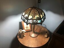 Miller Electric Table Lamp with 12 Panel Art Glass Shade - 1920's