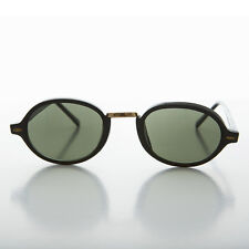90s Classic Oval Victorian Sunglasses w/ Metal Bridge Black & Green- Boston