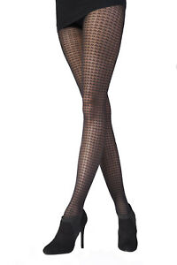 Pretty Polly Women's Dogtooth Tight One Size Black - PNAUY7