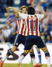 CARLOS FIERRO ALDO DE NIGRIS SIGNED AUTO'D 11X14 PHOTO POSTER CHIVAS FC MEXICO B