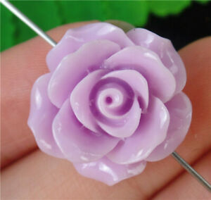 20x20x10mm Purple Tridacna Carved Flowers Height Hole Pendant Bead AP65433