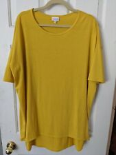 LULAROE LARGE IRMA SOLID YELLOW/MUSTARD TUNIC HI LOW SHIRT GUC