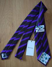 """Paul Smith """"MAINLINE"""" RARE Violet & Noir MULTI-RAYURES Cravate 100% Soie 8cm"""