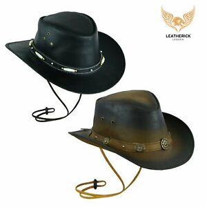 Black bush leather Distressed Brown hat western style cowboy Australian Aussie