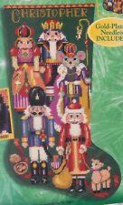 Bucilla Nutcracker Suite Soldier King Christmas Needlepoint Stocking Kit 60777 R