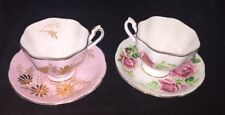 Vintage 2 Floral Footed Queen Anne Tea Cups And Saucers...Beautiful & Delicate
