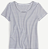 Ann Taylor Women's Scoop Neck Tee Short Sleeve Black Stripe Top Sz XL NEW $34.99