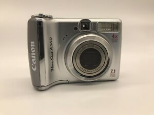 Canon PowerShot A560 7.1MP Digital Camera - Silver TESTED