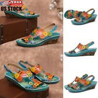 Womens Summer Beach Ankle Strap Flatform Sandals Boho Platform Wedges Shoes Size