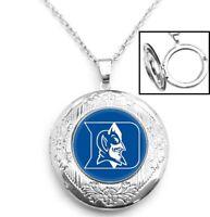 Duke University Blue Devils Sterling Silver Link Chain Necklace And Locket D16