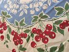 Vtg Cotton Tablecloth Printed Red Cherries & Blue Estate Sale Find 51 x 50