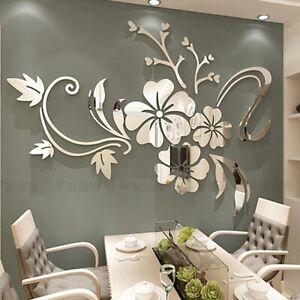 3D Mirror Flower Home Mural Décor Living Room Art Removable Vinyl Wall Sticker