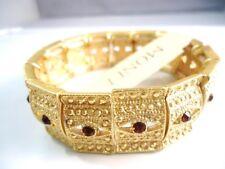 100% Auth Monet Bracelet - Vintage Frosty Gold Tone w Brown Rhinestone 2cm BJ08