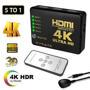 5 To 1 HDMI-Splitter Switch Adapter Switcher 4K Ultra HD HDCP 3D HDR IR Remote☃