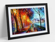 More details for autumn couples walking framed art poster graffiti picture print artwork 4 sizes
