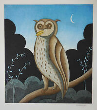 "Thomas McKnight ""Owl"" Limited Edition Etching Hand Signed COA"