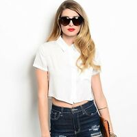 The Hanger short-sleeve cropped blouse with lace back