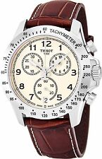 Tissot Men's V 8 Ivory Dial Leather Strap Chronograph Swiss Watch T1064171626200