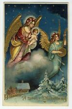 1909 CHRISTMAS ANGELS with Gold Wings Bringing Jesus Postcard Night Stars Snow