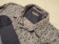 "TED BAKER Mens Shirt 🌍 Size 3 (40"" CHEST) 🌎 RRP £110+ 📮 FLORAL DOUBLE COLLAR"
