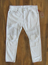 True Religion Skinny Moto Jeans-Never Ending White-Grey Stitch-Size 38-NWT $249