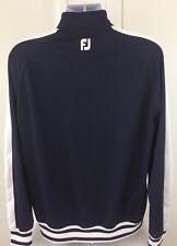 Footjoy Track Jacket Full Zip Polyester Spandex Navy Blue White Men's Size Large