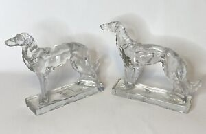 Vintage Martinsville Viking Russian Wolfhound Borzoi Art Deco Glass Bookends Set