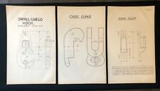 3 X Harland & Wolff Belfast 1930's Drawings - HOOK CABLE CLAWS DOOR CLEAT - RF01