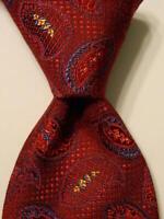 SANTORELLI Men's 100% Silk Necktie ITALY Luxury PAISLEY Red/Blue/Yellow NWT $98