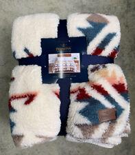 Pendleton Sherpa Fleece Blanket Aztec Southwest Throw Queen 98 x 92 Soft New
