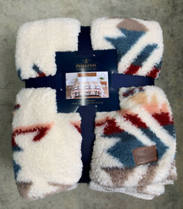 Pendleton Sherpa Fleece Blanket Aztec Southwest Throw Queen 98 x 92 Soft New
