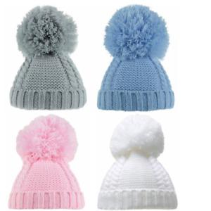 Baby Boy Girl Pom Pom Hat Cable Knit Winter Bobble Beanie Newborn - 3 Months